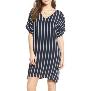 Madewell Striped Plaza Dress Navy Blue Button Back